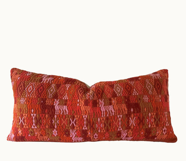 Guatemalan pillow | Huipil pillow | Red embroidered boho pillow | Tribal cushion