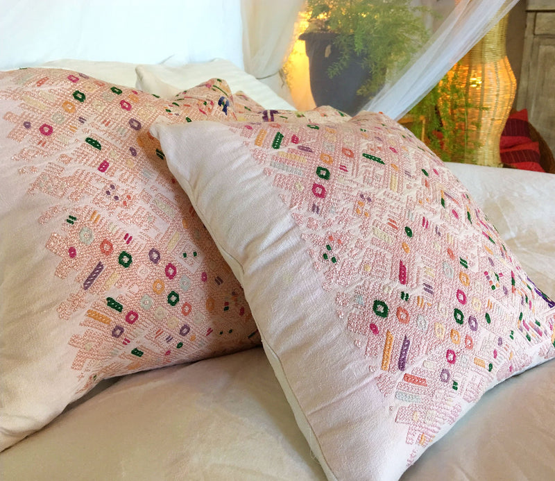 Guatemalan pillow, Huipil pillow, pale pink embroidered pillow, light pink boho throw pillow