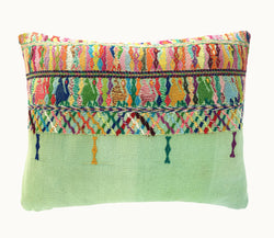 Guatemalan pillow, green huipil pillow, shabby chic pillow, pink and green boho lumbar cushion