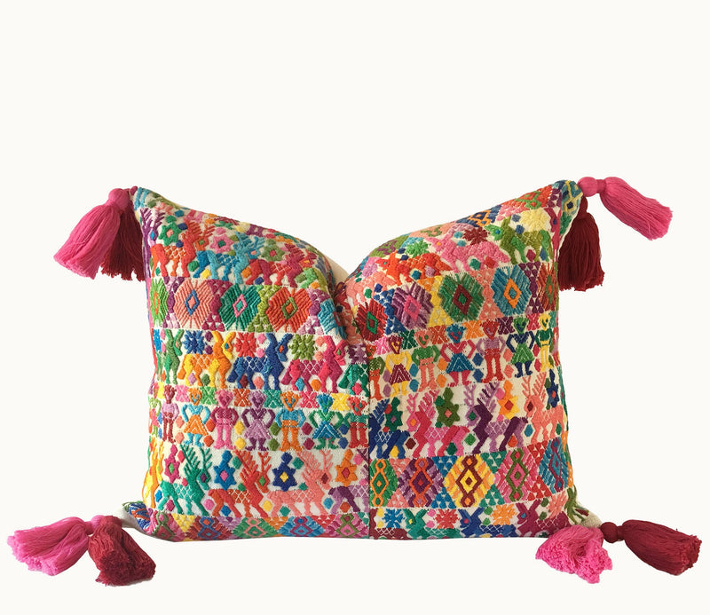 Guatemalan pillow | Huipil pillow | Colorful tassel boho pillow | Nursery cushion