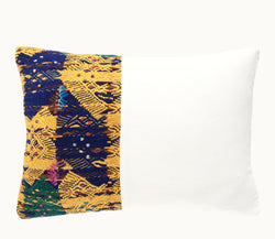 Guatemalan pillow | Huipil pillow | Blue and yellow boho pillow | Tribal cushion