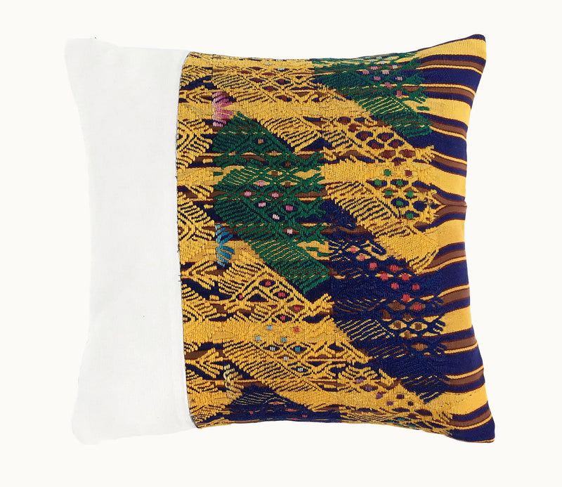Guatemalan Huipil Pillow, vintage, hand woven blue yellow and white throw cushion from Sacatepequez