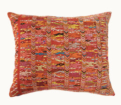 Guatemalan pillow, Red huipil pillow, tribal throw pillow, artisan pillow, red embroidered pillow,