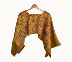 Guatemalan huipil, mustard Boho Poncho | Vintage hand embroidered cape