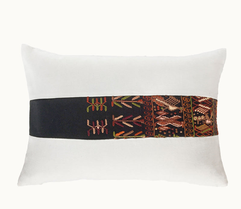 Guatemalan Huipil Pillow, vintage, hand woven black and white lumbar cushion from Santa Catarina
