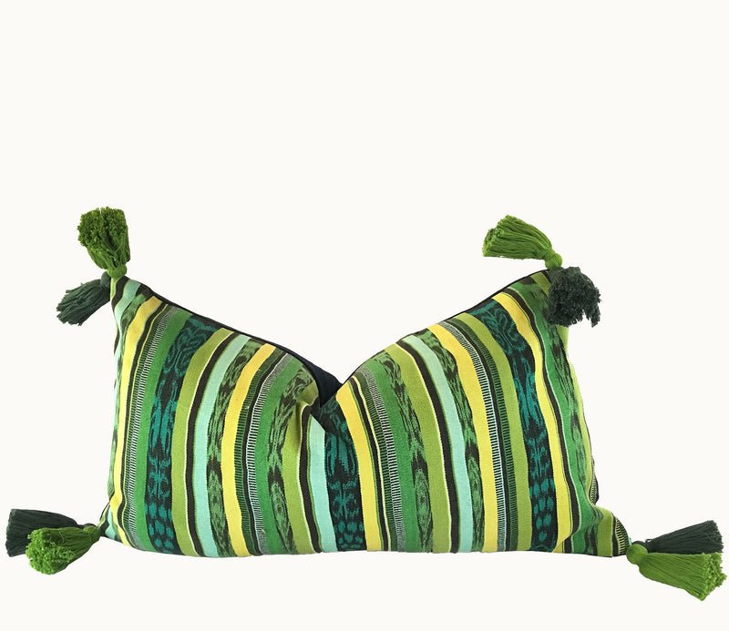 Bright green and yellow striped lumbar pillow with tassels ~ Vintage Guatemalan textile