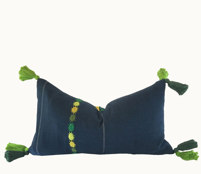 Indigo blue lumbar pillow with green embroidered detail and tassels ~ Vintage Guatemalan textile