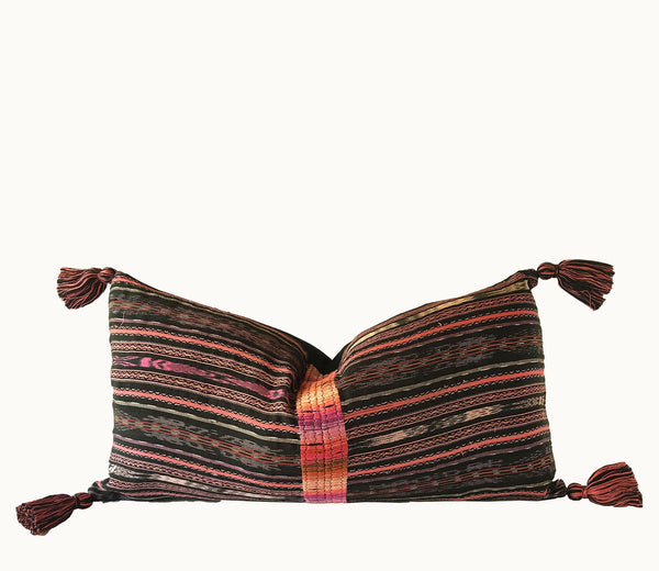 Guatemalan pillow, Randa lumbar pillow, Striped ikat pillow, black and pink boho pillow