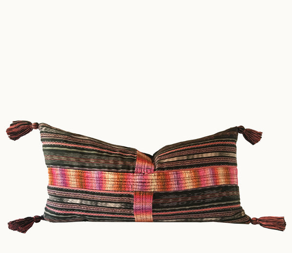Guatemalan pillow, Corte pillow, Randa pillow with tassels, Mayan pillow, black and pink striped ikat pillow