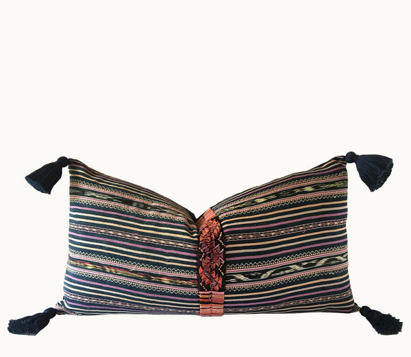 Guatemalan pillow, Boho lumbar pillow, Striped ikat pillow, blue and pink boho pillow with randa