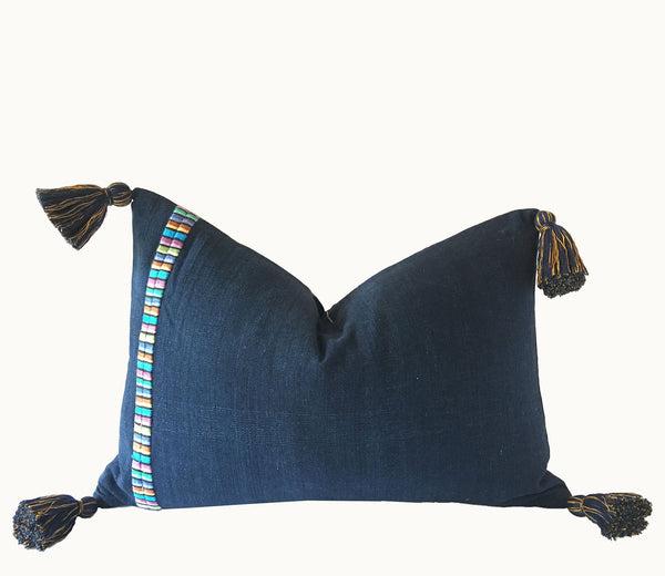 Guatemalan Textile Pillow, vintage, hand woven navy blue and gold striped lumbar cushion with tassels