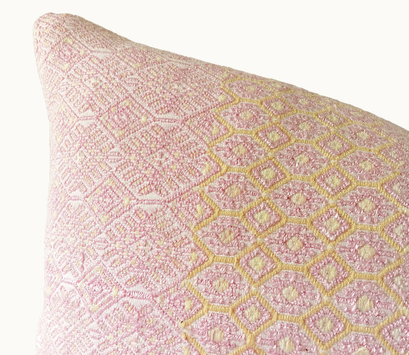blush lumbar pillow, Guatemalan pillows, huipil pillows, embroidered pillows, boho pillows, bohemian pillows, Boho pillow,  Bohemian pillow, Modern boho pillow, handmade pillows, global pillows, artisan pillows,