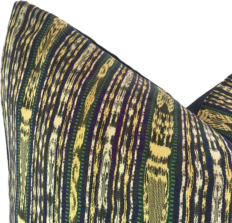 Guatemalan Textile Pillow, vintage, hand woven blue and yellow striped ikat throw cushion