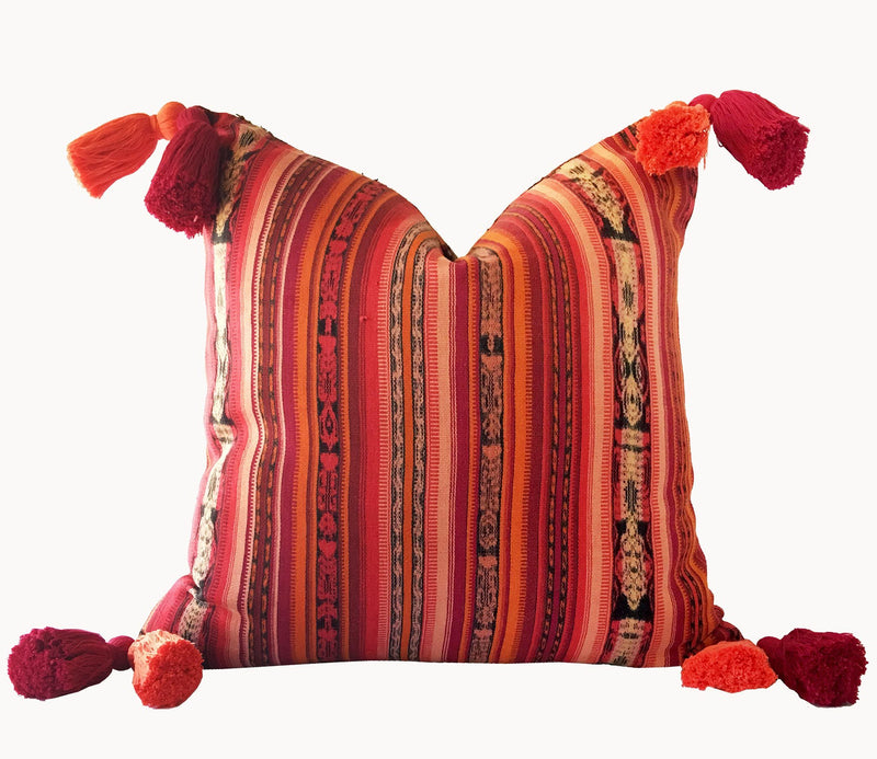 Guatemalan Textile Pillow, vintage, hand woven pink and coral striped ikat throw cushion with tassels
