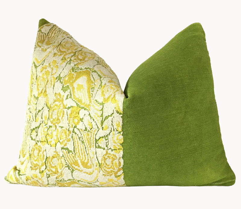 Guatemalan Huipil Pillow, vintage, hand woven green and yellow floral lumbar cushion from Chichicastenango