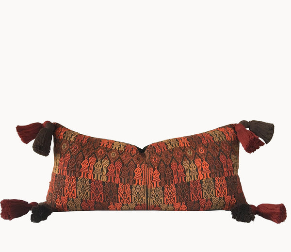 Guatemalan Huipil Pillow, vintage, hand woven brown and orange lumbar cushion from Xela