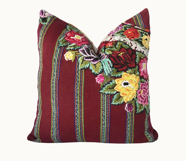 Guatemalan Huipil Pillow, vintage, hand woven burgundy floral and striped throw cushion from Patzun