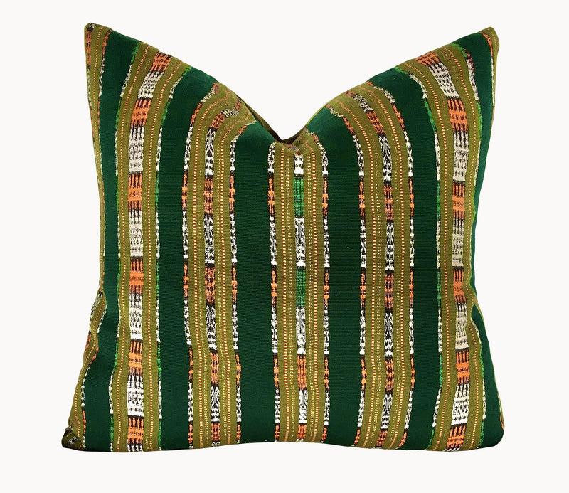 Guatemalan Textile Pillow, vintage, hand woven green and olive striped ikat throw cushion