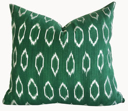 Guatemalan Textile Pillow, naturally dyed forest green hand woven ikat throw cushion