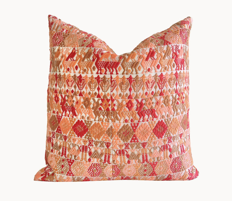 Guatemalan Huipil Pillow, vintage, hand woven coral throw cushion from Coban