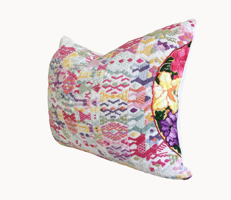 Guatemalan Huipil Pillow, vintage, hand woven colourful pastel lumbar cushion from Coban