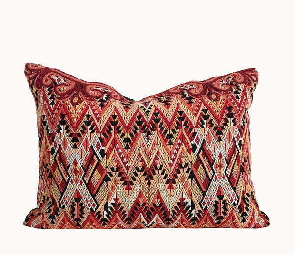 Guatemalan huipil pillow - Orange Chichicastenango IV