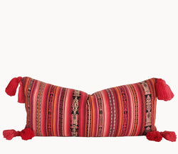 Guatemalan Corte Pillow, hand woven pink and coral striped ikat lumbar cushion with tassels