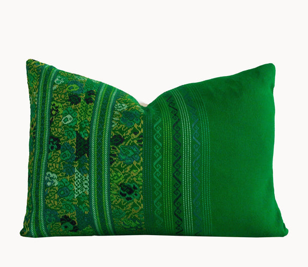 Guatemalan Huipil Pillow, Vintage, hand woven green floral lumbar cushion from Comolapa