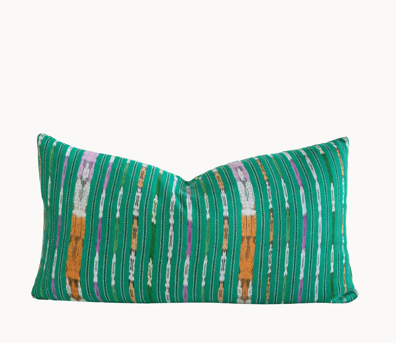 Guatemalan Corte Pillow, hand woven turquoise striped ikat lumbar cushion