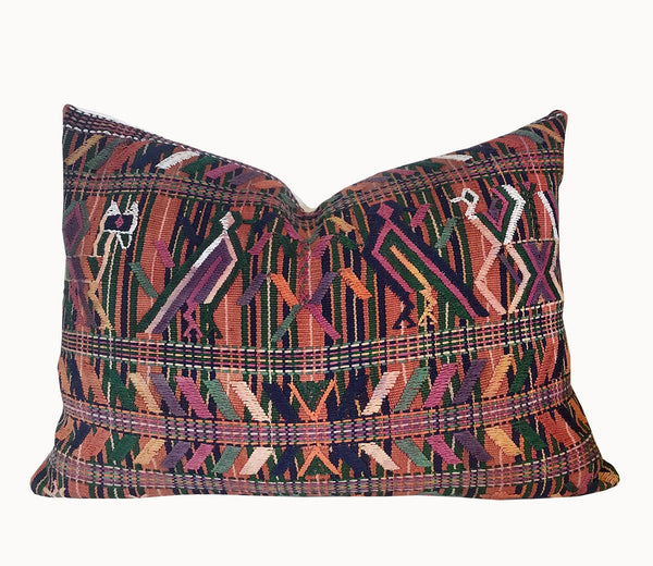 Guatemalan Textile Pillow, Vintage, hand woven coral lumbar cushion from Nebaj