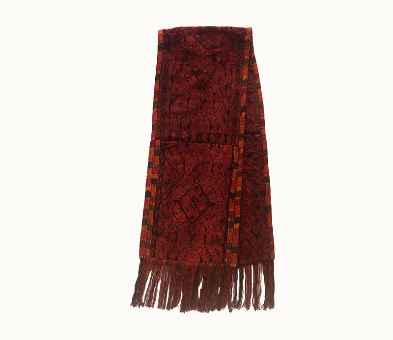 Guatemalan table runner, Huipil table runner, Brown boho table runner with fringe ~ Guatemalan textile