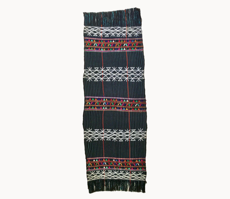Guatemalan Textile, black with white pinstripe table runner with colourful embroidery and fringe. Originally a San Juan Cotzal tzute