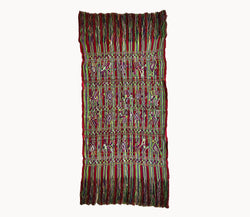 Guatemalan Textile, red and green hand embroidered table runner with fringe, originally a Nebaj tzute