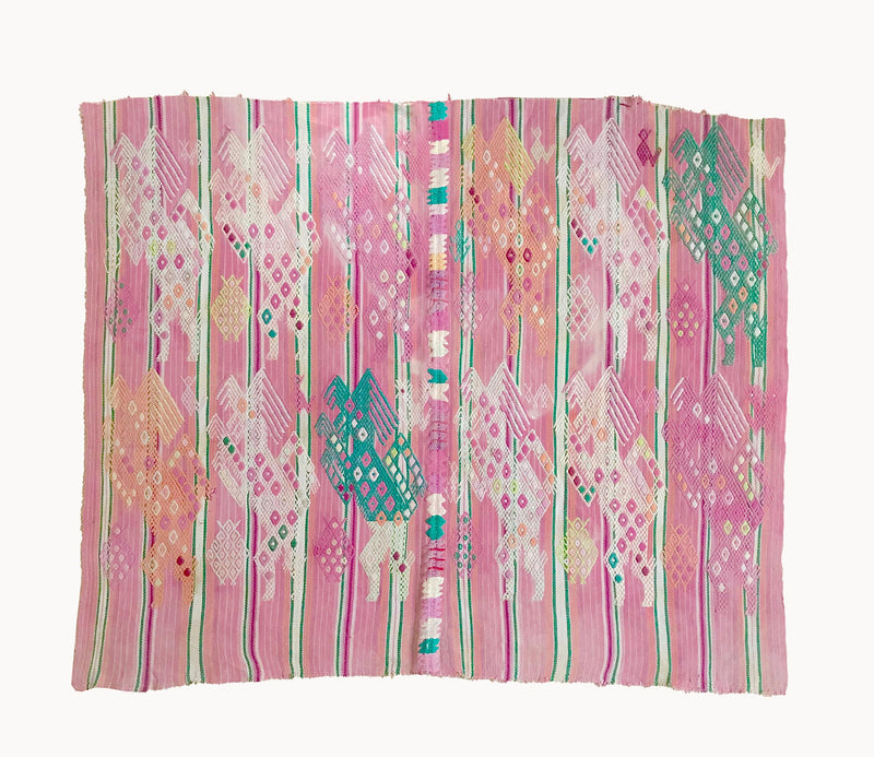 Guatemalan Textile, pink Chichicastenango tzute of embroidered dancing horses in a row