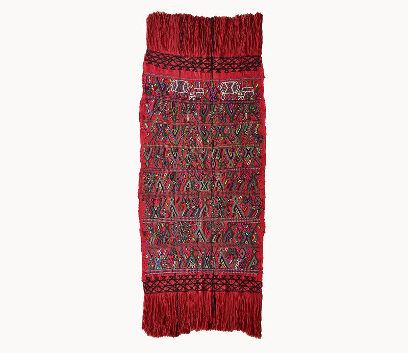 Guatemalan Textile, red table runner with colourful embroidery, originally a Nahuala tzute