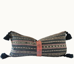 Guatemalan pillow, Boho lumbar pillow with tassels, Striped ikat pillow, blue and pink boho pillow with randa