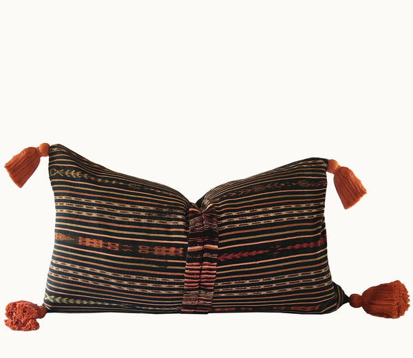 Guatemalan pillow, Randa lumbar pillow, Striped ikat pillow, Brown boho lumbar pillow, Tassel pillow