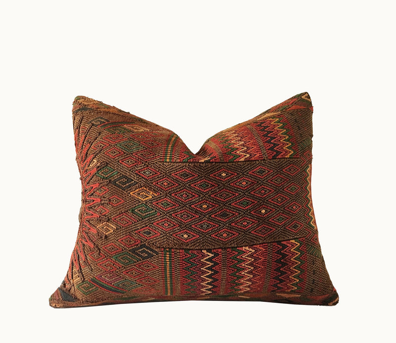 Guatemalan pillow, brown huipil pillow, textured global pillow, Moroccan pillow, Kilim pillow