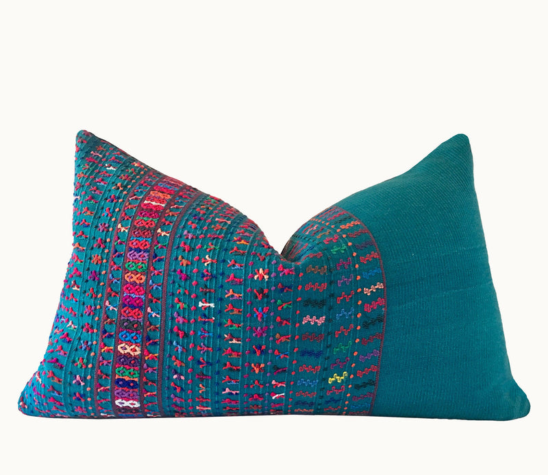 Guatemalan Huipil Pillow, vintage, hand woven teal lumbar cushion from San Lucas