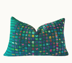 Guatemalan pillow, green huipil pillow, green boho pillow, beach pillow, coastal pillow