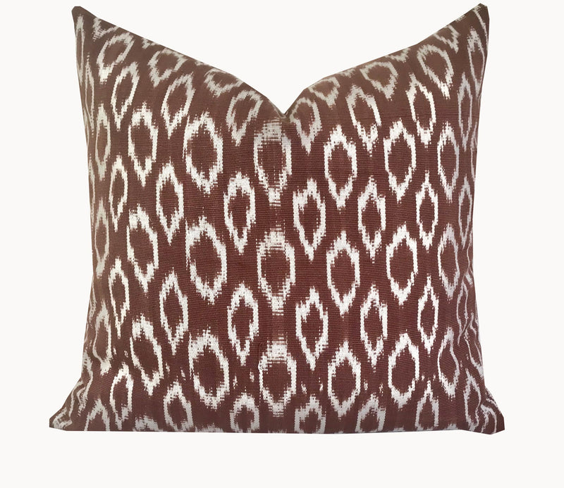 Guatemalan Pillow - Chocolate Brown Ikat Textile