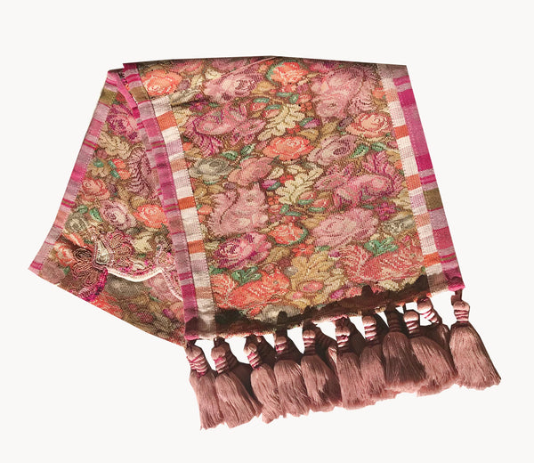 Guatemalan Textile, pink floral table runner with tassels made from a Nahuala huipil