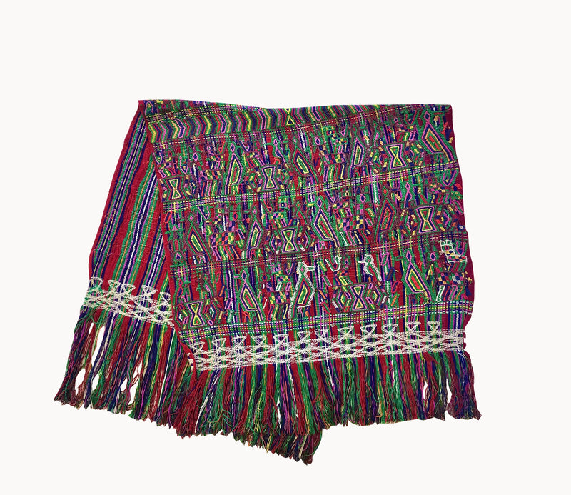 Guatemalan Textile, colourful hand embroidered table runner originally a Nebaj tzute