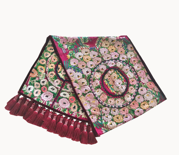 Guatemalan Textile, floral table runner with tassels made from 4 huipiles from Patzun