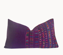 Guatemalan Huipil Pillow, Vintage, hand woven purple embroidered lumbar cushion from San Lucas
