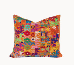 Guatemalan Huipil Pillow - Orange Coban XVI