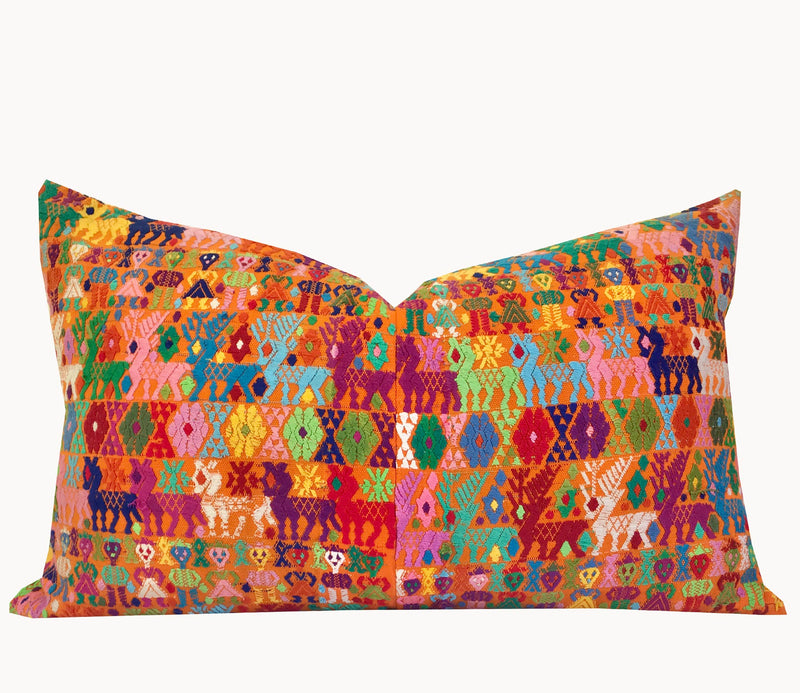 Guatemalan Huipil Pillow - Orange Coban XV