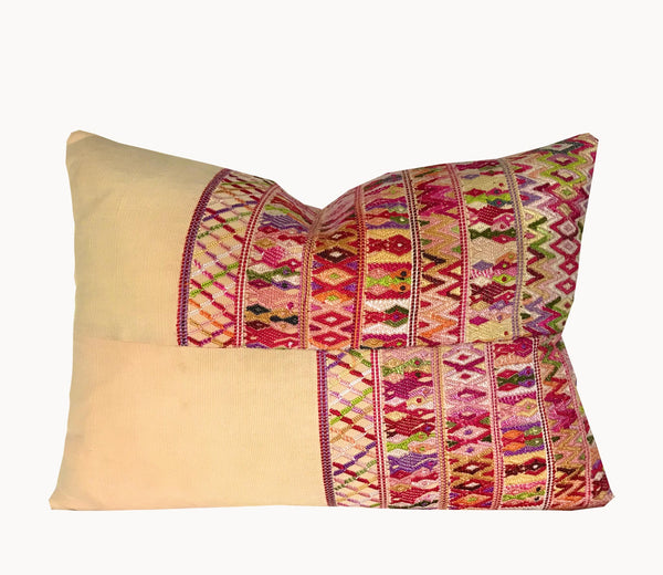 Guatemalan Huipil Pillow, vintage, hand woven yellow and red lumbar cushion from San Juan Cotzal