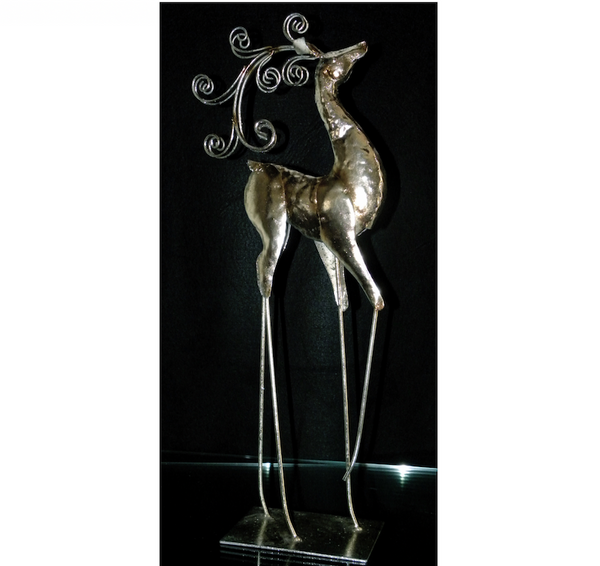 Silver Scroll Antler Deer Set of Two