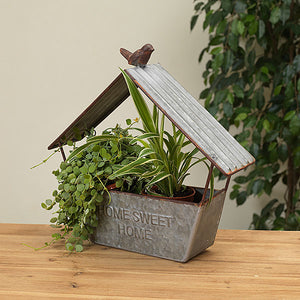 Galvanized Metal House Planter